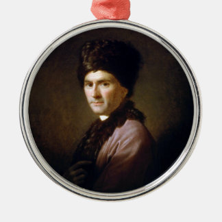 Jean-Jacques Rousseau by Allan Ramsay (1766) Round Metal Christmas Ornament