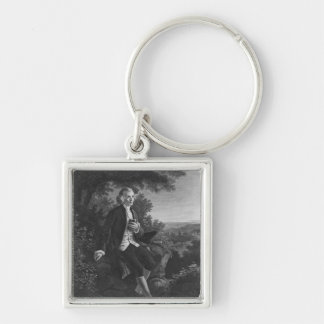 Jean-Jacques Rousseau composing 'Emile' Silver-Colored Square Keychain