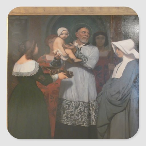Jean-Leon Gerome- Saint Vincent of Paule Square Sticker