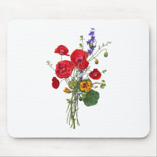 Jean Louis Prevost Bright Red Nasturtium Bouquet Mouse Pad