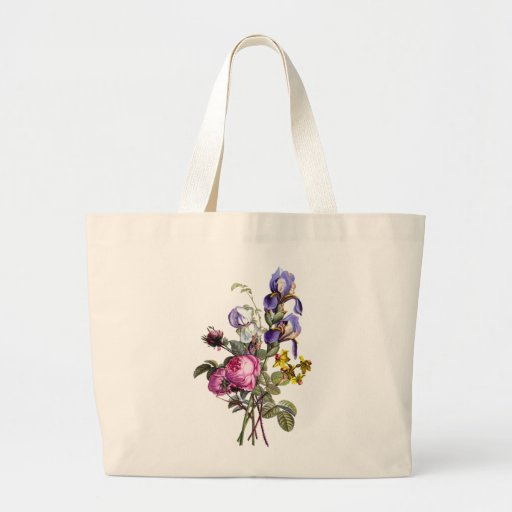 Jean Louis Prevost Cabbage Rose and Iris Bouquet Tote Bags