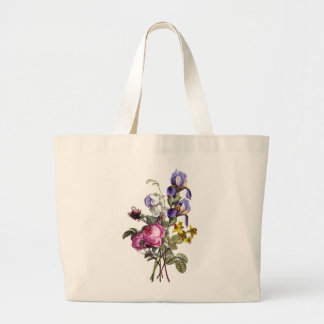 Jean Louis Prevost Cabbage Rose and Iris Bouquet Large Tote Bag