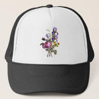 Jean Louis Prevost Cabbage Rose and Iris Bouquet Trucker Hat