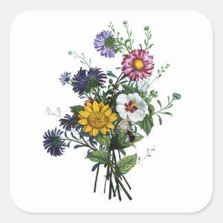 Jean Louis Prevost Daisy and Sunflower Bouquet Square Sticker