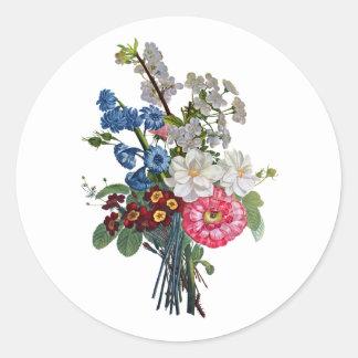 Jean Louis Prevost Mixed Flower Bouquet Classic Round Sticker