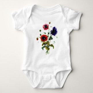 Jean Louis Prevost Mixed Poppy Bouquet Baby Bodysuit