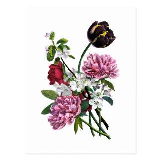 Jean Louis Prevost Peony and Tulip Bouquet Postcard