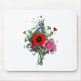 Jean Louis Prevost Poppy and Peony Bouquet Mouse Pad