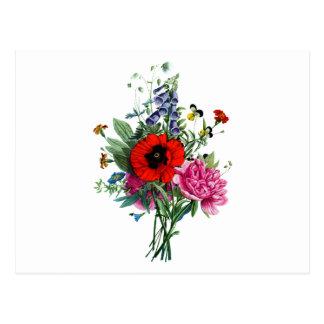 Jean Louis Prevost Poppy and Peony Bouquet Postcard