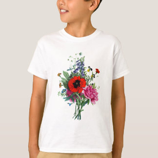 Jean Louis Prevost Poppy and Peony Bouquet T-Shirt