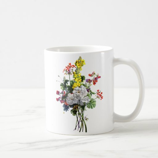 Jean Louis Prevost Rose and Begonia Bouquet Classic White Coffee Mug