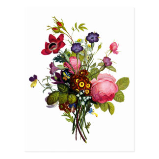 Jean Louis Prevost Roses and Pansy Bouquet Postcard