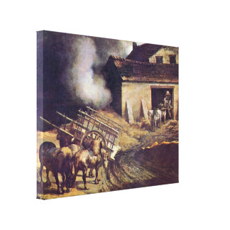 Jean Louis Theodore Gericault - The Plaster Kiln Canvas Print