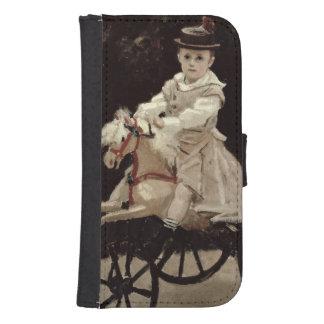 Jean Monet en su caballo de la afición, 1872 Funda Tipo Cartera Para Galaxy S4