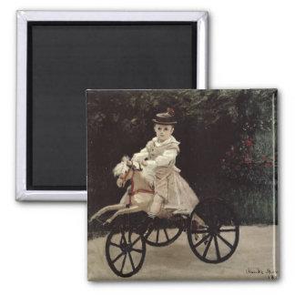 Jean Monet en su caballo de la afición, 1872 Imán Cuadrado