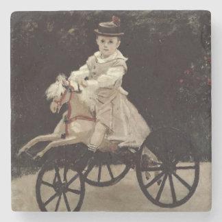 Jean Monet en su caballo de la afición, 1872 Posavasos De Piedra