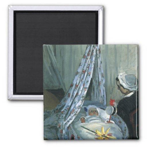 Jean Monet en su cuna de Claude Monet Imán Cuadrado