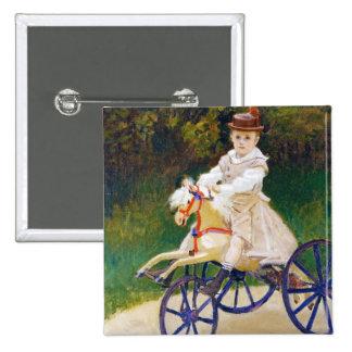 Jean Monet en un caballo mecánico Claude Monet Pin Cuadrado