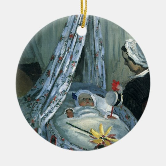Jean Monet in His Cradle by Claude Monet Ceramic Ornament