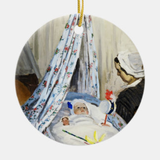 Jean Monet in the Cradle Claude Monet cool, old, Ceramic Ornament