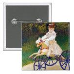 Jean Monet on a Mechanical Horse Claude Monet Button