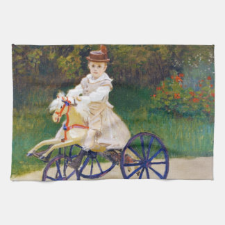 Jean Monet on a Mechanical Horse Claude Monet Towels