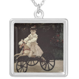 Jean Monet on his Hobby Horse, 1872 Square Pendant Necklace