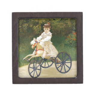 Jean Monet on His Hobby Horse by Claude Monet Jewelry Box
