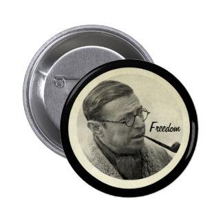 Jean-Paul Sartre Pin Redondo De 2 Pulgadas