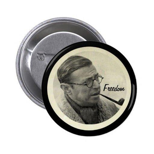 Jean-Paul Sartre Pinback Buttons