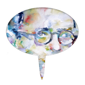 jean paul sartre - watercolor portrait cake topper