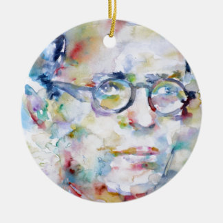 jean paul sartre - watercolor portrait ceramic ornament
