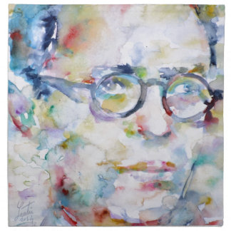 jean paul sartre - watercolor portrait cloth napkin