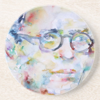 jean paul sartre - watercolor portrait coaster