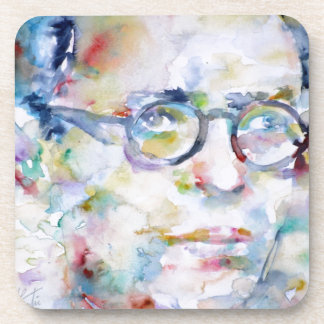 jean paul sartre - watercolor portrait drink coaster