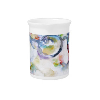 jean paul sartre - watercolor portrait drink pitcher