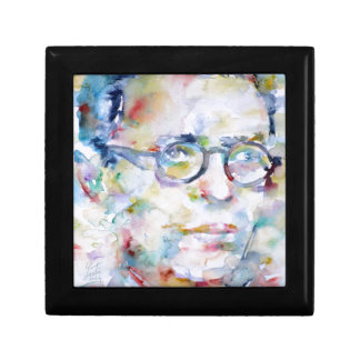 jean paul sartre - watercolor portrait keepsake box