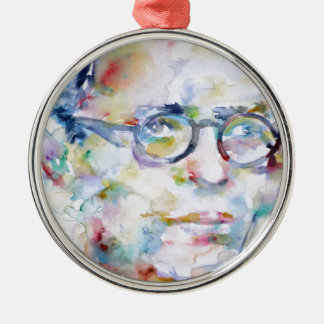 jean paul sartre - watercolor portrait metal ornament