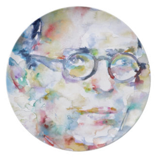 jean paul sartre - watercolor portrait plate