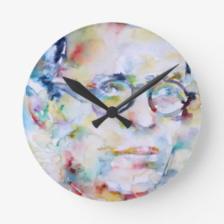 jean paul sartre - watercolor portrait round clock