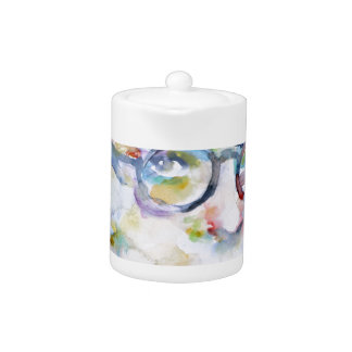 jean paul sartre - watercolor portrait teapot
