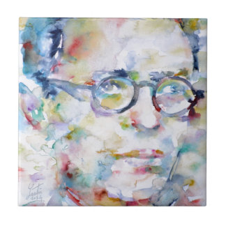jean paul sartre - watercolor portrait tile