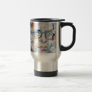 jean paul sartre - watercolor portrait travel mug