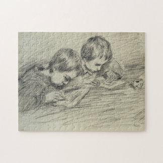Jean-Pierre Hoschedé & Michel Drawing Monet Fine Jigsaw Puzzle