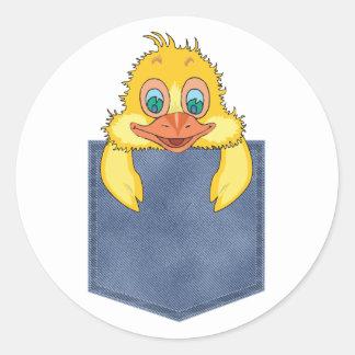 Jean Pocket Baby Duck Classic Round Sticker