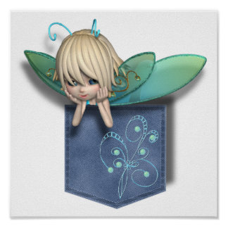 Jean Pocket Blue Green Fairy Poster