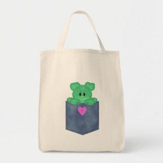 Jean Pocket Green Teddy Bear Tote Bag