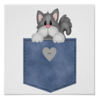 Jean Pocket Kitty Cat Poster