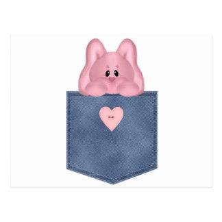 Jean Pocket Pink Bunny Postcard