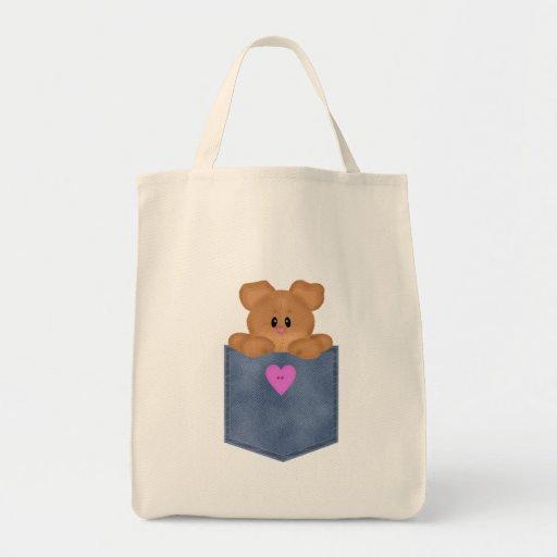 Jean Pocket Teddy Bear Tote Bag